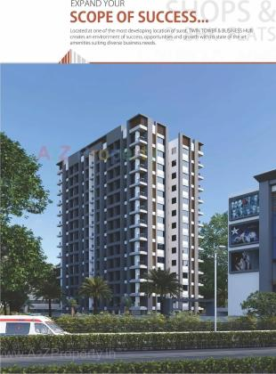 Elevation of real estate project Twin Tower & Business Hub located at Kathodara, Surat, Gujarat