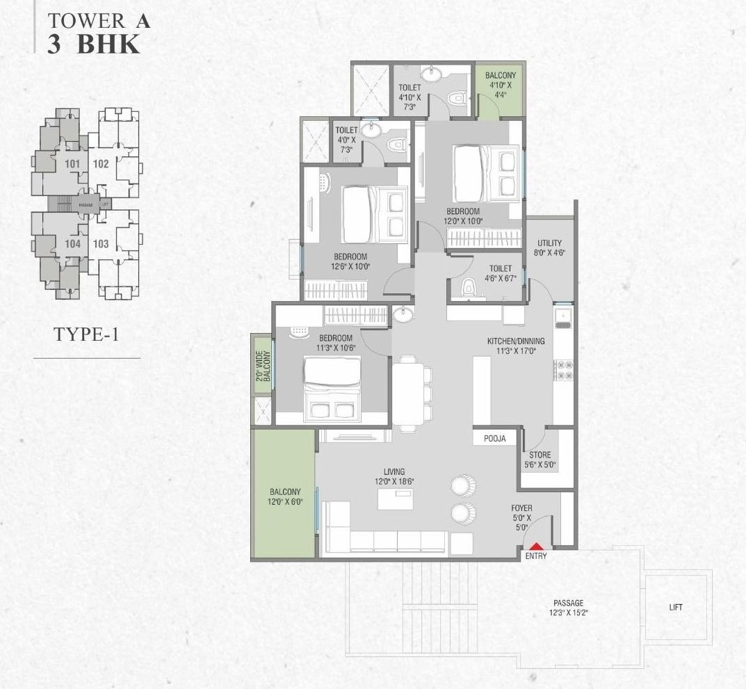 Tower A 3 Bhk Type 1 Layout