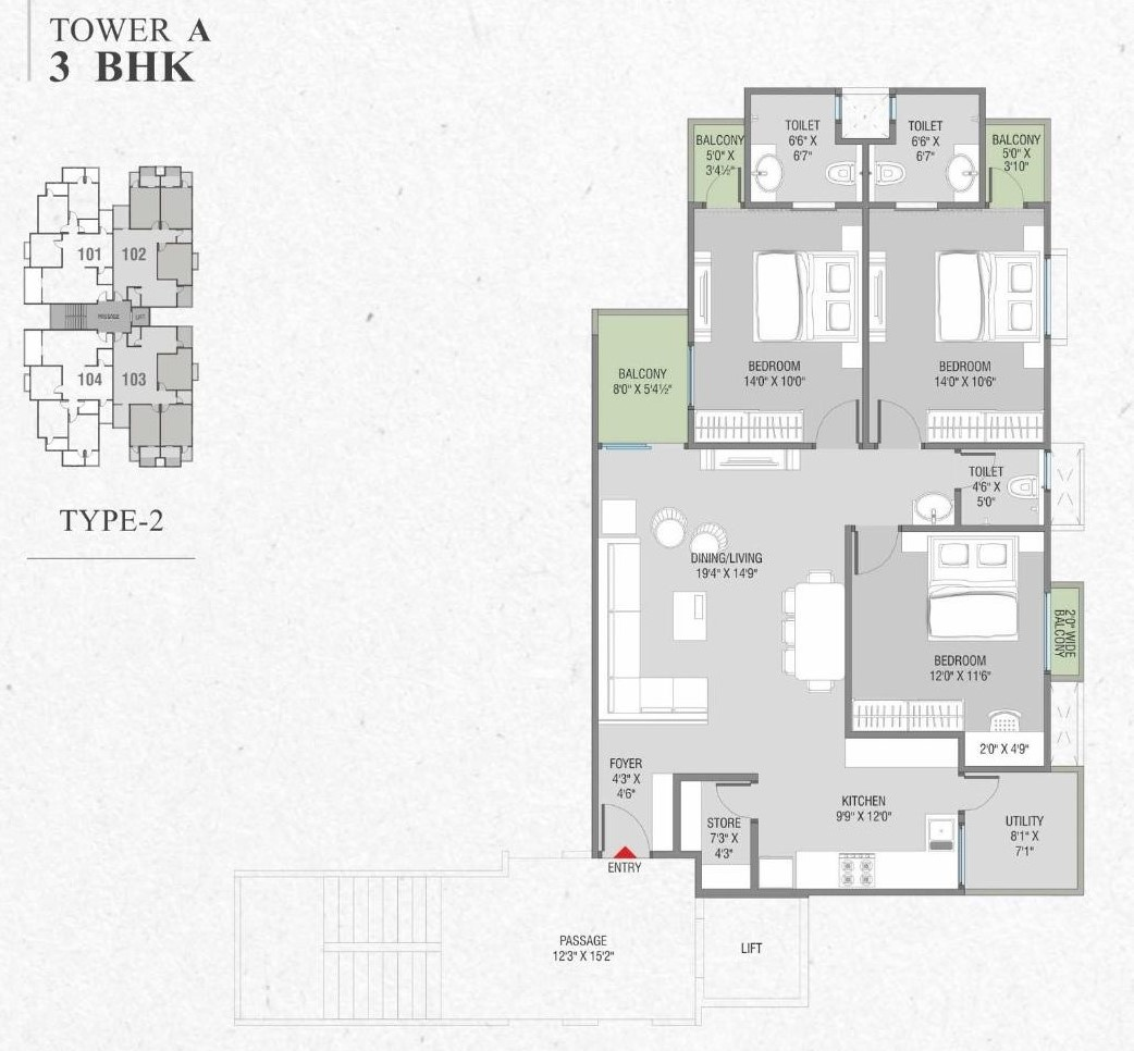 Tower A 3 Bhk Type 2 Layout