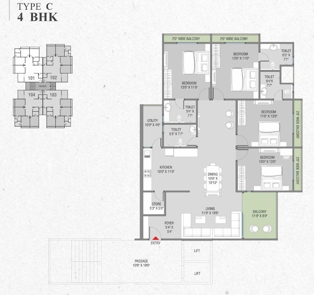 Tower C 4 Bhk Layout