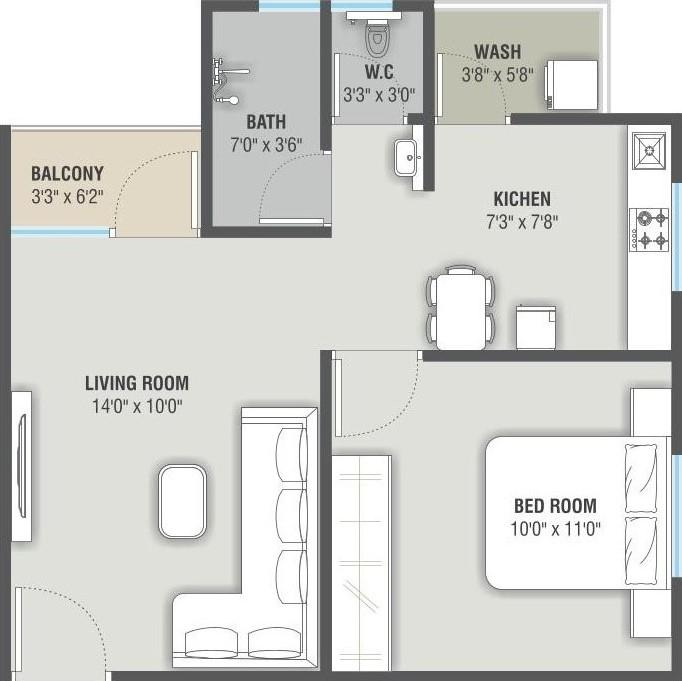 Tower D E F G H I 1 Bhk Layout